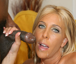 hot blonde milf wife eating cum from huge black cock